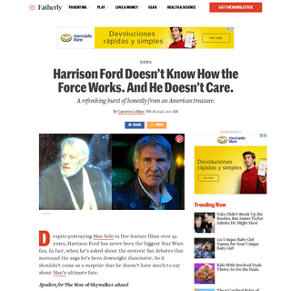 Harrison Ford Doesn't Know How the Force Works in Star Wars - Fatherly