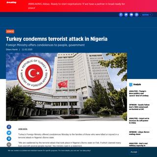 Turkey condemns terrorist attack in Nigeria