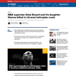NBA superstar Kobe Bryant dies in helicopter crash at 41