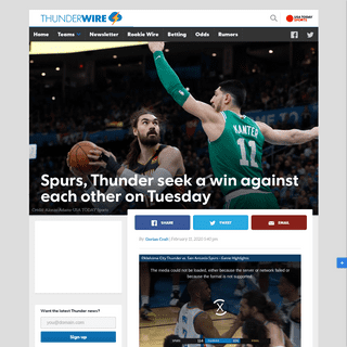 Spurs, Thunder both seek to get back in win column on Tuesday