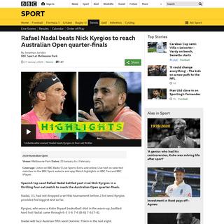 Rafael Nadal beats Nick Kyrgios to reach Australian Open quarter-finals - BBC Sport