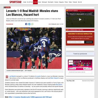 LaLiga Levante 1-0 Real Madrid - Hazard injured - Sportstar