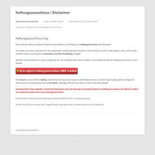 Haftungsausschluss - Disclaimer - Kostenlos als Muster-Vorlage für Ihre Website