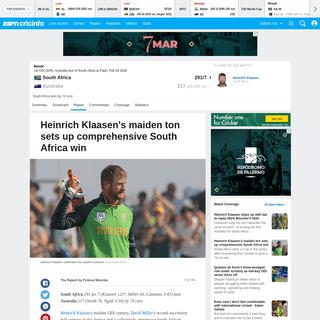 Recent Match Report - South Africa vs Australia 1st ODI 2020 - ESPNcricinfo.com