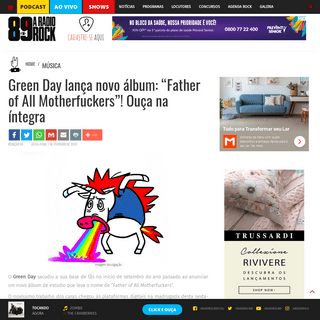"Green Day lança novo álbum- ""Father of All Motherfuckers""! Ouça na íntegra - A Rádio Rock - 89,1 FM - SP"