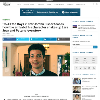 'To All the Boys 2' star Jordan Fisher teases how the arrival of his character shakes up Lara Jean and Peter's love story - Busi