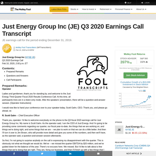 Just Energy Group Inc (JE) Q3 2020 Earnings Call Transcript - The Motley Fool