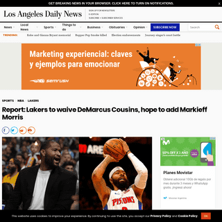 Report- Lakers to waive DeMarcus Cousins, hope to add Markieff Morris – Daily News