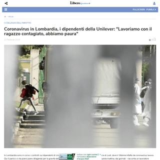 Coronavirus in Lombardia, i dipendenti della Unilever- -Lavoriamo con il ragazzo contagiato, abbiamo paura- - Libero Quotidiano