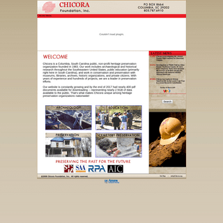 Chicora Foundation-- SC Archaeology Consultants - Heritage Preservation - Archaeology Research