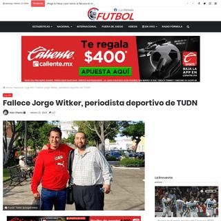 Fallece Jorge Witker, periodista deportivo de TUDN - Futbol RF