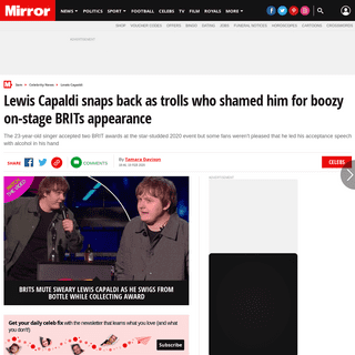 ArchiveBay.com - www.mirror.co.uk/3am/celebrity-news/lewis-capaldi-snaps-back-trolls-21532998 - Lewis Capaldi snaps back as trolls who shamed him for boozy on-stage BRITs appearance - Mirror Online