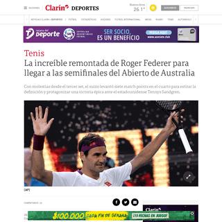 La increíble remontada de Roger Federer para llegar a las semifinales del Abierto de Australia - Clarín