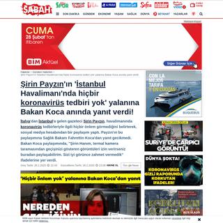 Şirin Payzın'ın 'İstanbul Havalimanı'nda hiçbir koronavirüs tedbiri yok' yalanına Bakan Koca anın...