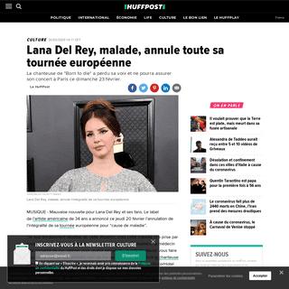 Lana Del Rey, malade, annule toute sa tournée européenne - Le Huffington Post