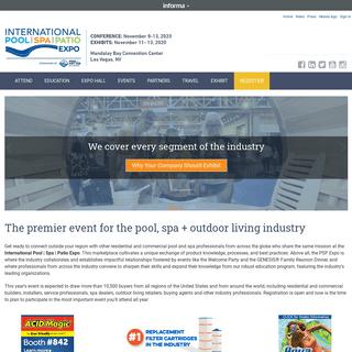 International Pool Spa Patio Expo - Nov. 8 - 13, 2020