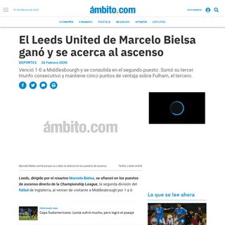 ArchiveBay.com - www.ambito.com/deportes/marcelo-bielsa/el-leeds-united-marcelo-bielsa-gano-y-se-acerca-al-ascenso-n5085221 - El Leeds United de Marcelo Bielsa ganó y se acerca al ascenso - Marcelo Bielsa, Fútbol, Leeds United