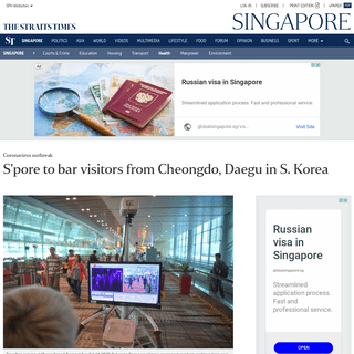 S'pore to bar visitors from Cheongdo, Daegu in S. Korea, Health News & Top Stories - The Straits Times