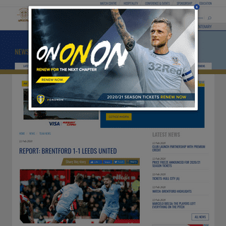 Report- Brentford 1-1 Leeds United - Leeds United