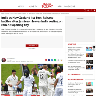 ArchiveBay.com - www.indiatoday.in/sports/cricket/story/new-zealand-india-wellington-test-day-1-report-jamieson-kohli-rahane-1648587-2020-02-21 - India vs New Zealand 1st Test- Rahane battles after Jamieson leaves India reeling on rain-hit opening day - Sports News