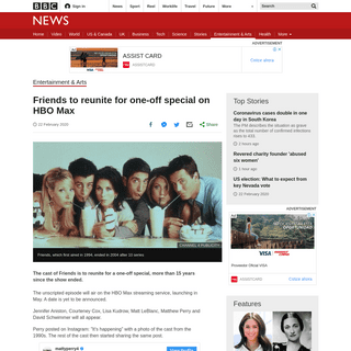 Friends to reunite for one-off special on HBO Max - BBC News