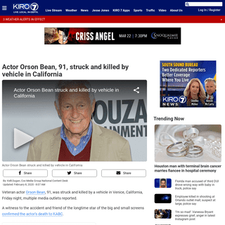 Actor Orson Bean, 91, struck and killed by vehicle in California