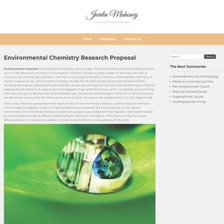 Environmental Chemistry Research Proposal - Jardin Mahoney