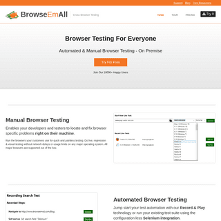 Automated & Manual Browser Testing - On Premise - BrowseEmAll