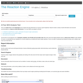 The Reaction Engine- a Free Online SEO Analysis Tool