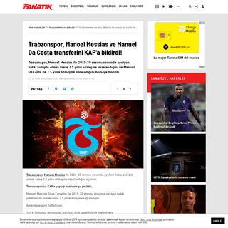 Trabzonspor, Manoel Messias ve Manuel Da Costa transferini KAP'a bildirdi! - Trabzonspor Haberleri - Spor
