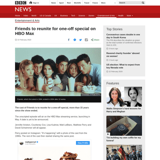 ArchiveBay.com - www.bbc.com/news/entertainment-arts-51590988 - Friends to reunite for one-off special on HBO Max - BBC News