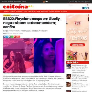 Exitoína · BBB20- Flayslane cospe em Gizelly, nega e sisters se desentendem; confira
