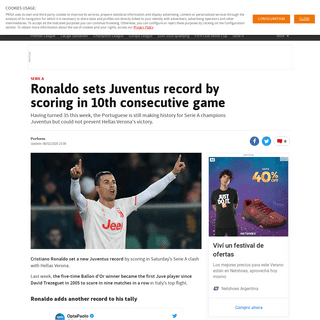 Ronaldo sets Juventus record by scoring in 10th consecutive game - AS.com