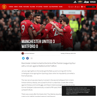 Match report from Man Utd 3 Watford 0 - Manchester United