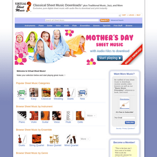 Virtual Sheet Music® - Classical Sheet Music Downloads® and more