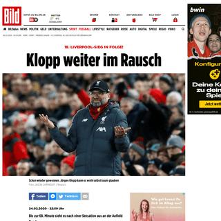 FC Liverpool- 18. Sieg in Folge für Jürgen Klopp - Fussball - Bild.de