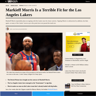 ArchiveBay.com - www.ccn.com/markieff-morris-is-a-terrible-fit-for-the-los-angeles-lakers/ - Markieff Morris Is a Terrible Fit for the Los Angeles Lakers