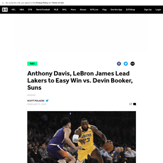 Anthony Davis, LeBron James Lead Lakers to Easy Win vs. Devin Booker, Suns - Bleacher Report - Latest News, Videos and Highlight