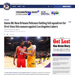 Game 58- New Orleans Pelicans fielding full squadron for first time this season against Los Angeles Lakers - The Bird Writes