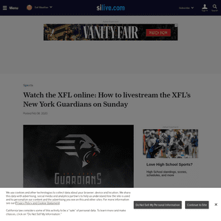 Watch the XFL online- How to livestream the XFL's New York Guardians on Sunday - silive.com