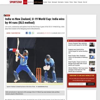 India vs NZ score, U-19 World Cup- India wins by 44 runs (DLS method) - Sportstar