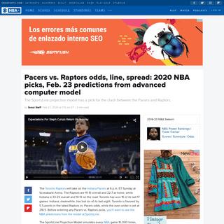 Pacers vs. Raptors odds, line, spread- 2020 NBA picks, Feb. 23 predictions from advanced computer model - CBSSports.com