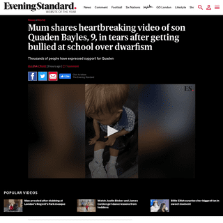 ArchiveBay.com - www.standard.co.uk/news/world/quaden-bayles-dwafism-boy-bullied-upset-australia-a4367031.html - Mum shares heartbreaking video of son Quaden Bayles, 9, in tears after getting bullied at school over dwarfism - London Evening