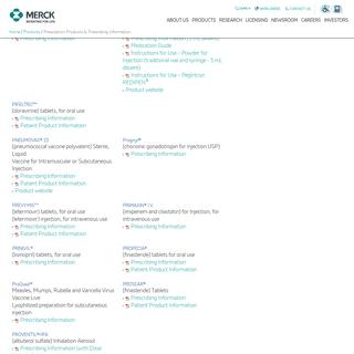 Merck.com - Products - Prescription-Products - Prescription Products & Prescribing Information