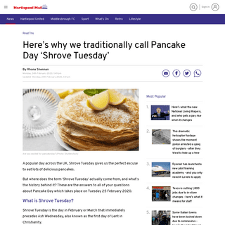 ArchiveBay.com - www.hartlepoolmail.co.uk/read-this/heres-why-we-traditionally-call-pancake-day-shrove-tuesday-1889170 - Here's why we traditionally call Pancake Day 'Shrove Tuesday' - Hartlepool Mail