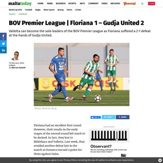 BOV Premier League Malta football results Floriana 1 – Gudja United 2
