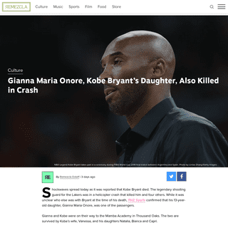 Gianna Maria Onore & Kobe Bryant Killed in Helicopter Crash