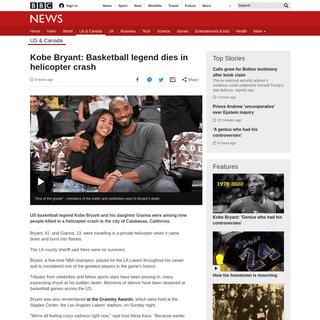 Kobe Bryant- Basketball legend dies in helicopter crash - BBC News