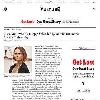 ArchiveBay.com - www.vulture.com/2020/02/rose-mcgowan-natalie-portmans-oscars-cape-offensive.html - Rose McGowan Calls Natalie Portman's Oscars Cape 'Offensive'