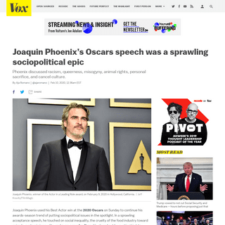 Joaquin Phoenix's Oscars speech was a sprawling sociopolitical epic - Vox